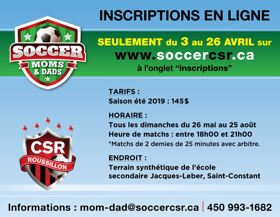 inscription soccer Moms et Dads 2019