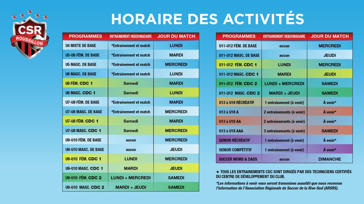 horaire adulte